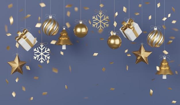 Regalos de navidad y año nuevo con confeti y decoración diseño de banner ilustración 3d