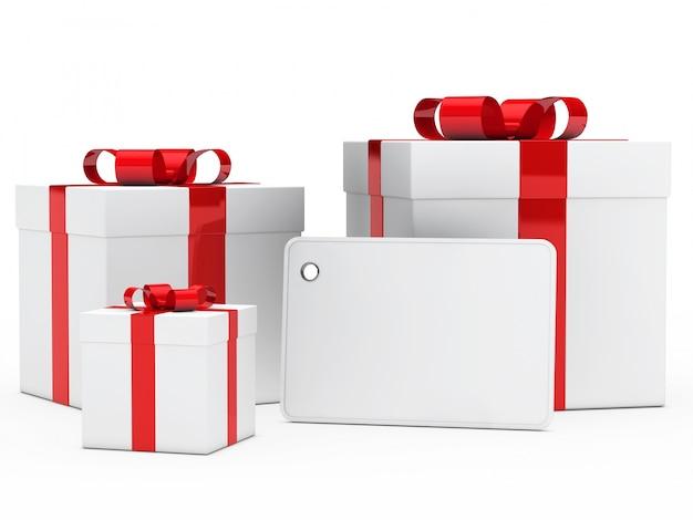 Regalos de navidad con un cartel en blanco