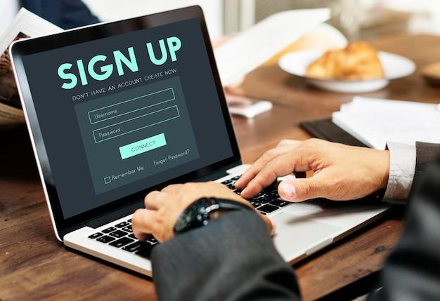 Registrarse formulario botón concepto gráfico