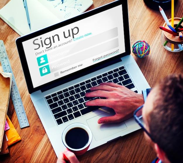 Registrarse registrarse en línea concepto web de internet