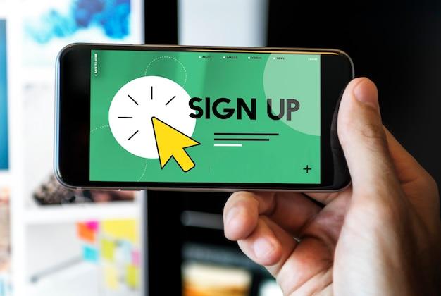 Registrarse en texto con el icono del puntero del mouse