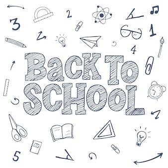 Regreso a la escuela boceto dibujado a mano inscripción de letras con elementos decorativos