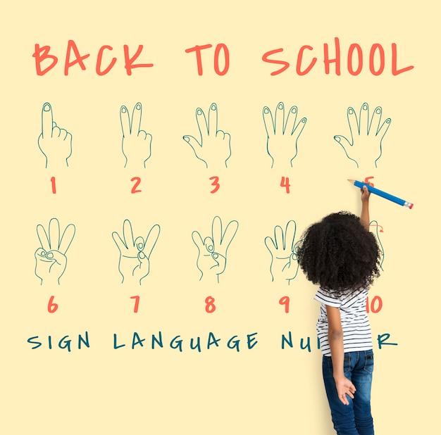Regreso a la escuela educación signo de la mano