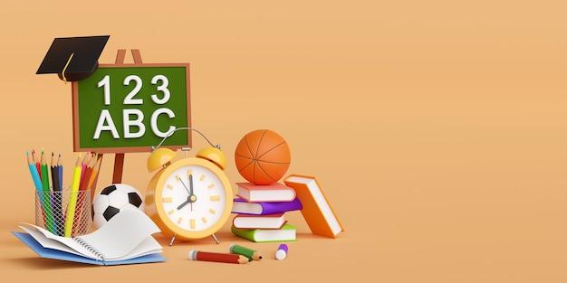 Regreso a la escuela, reloj despertador con material educativo, ilustración 3d