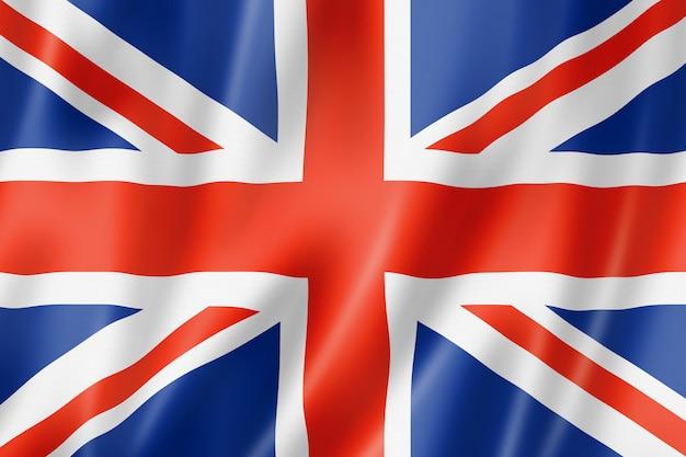 Reino unido, bandera del reino unido, render tridimensional, textura satinada.