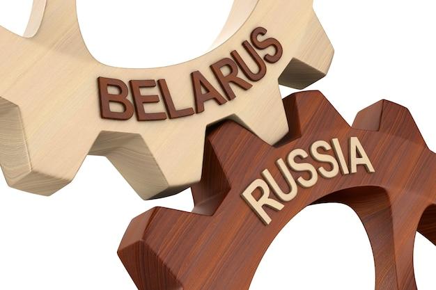 Relación entre bielorrusia y rusia sobre fondo blanco. ilustración 3d aislada