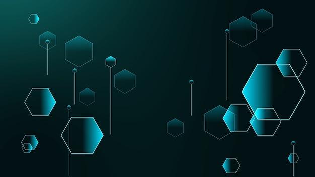 Relaciones futuristas de polígono de hexágonos pequeños y grandes sobre fondo degradado
