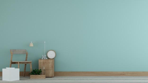 Relajante espacio interior minimalista y decoración de pared vacio en apartamento.