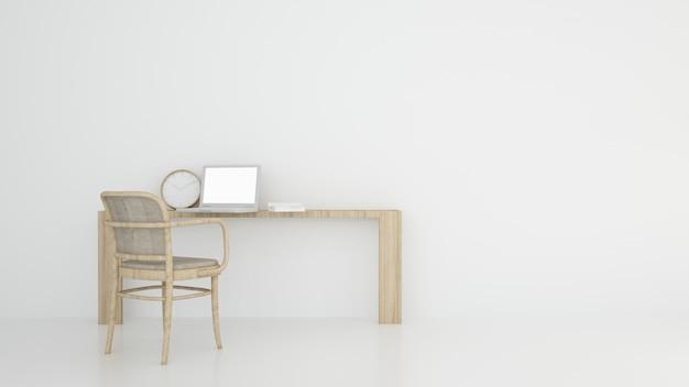 Relajarse espacio fondo blanco renderizado 3d interior