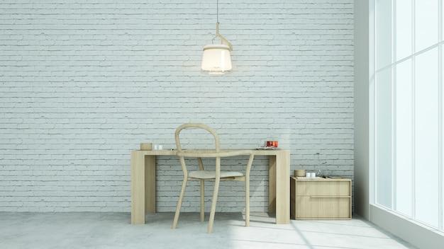 Relájese espacio loft concreto pared decorativa en condominio - representación 3d