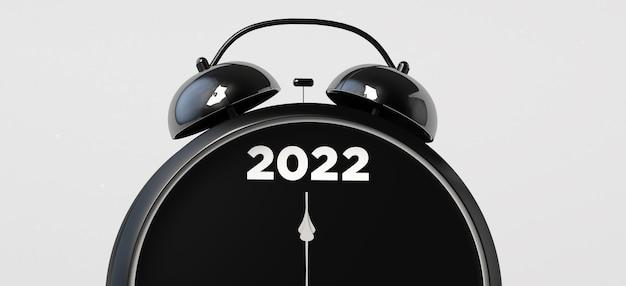 Reloj de alarma que marca el año nuevo 2022. ilustración 3d.