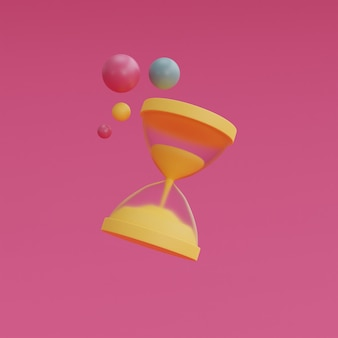 Reloj de arena amarillo aislado sobre fondo rosa