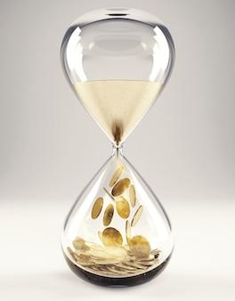 Reloj de arena con arena y dinero de oro. el tiempo es dinero concepto 3d rendering