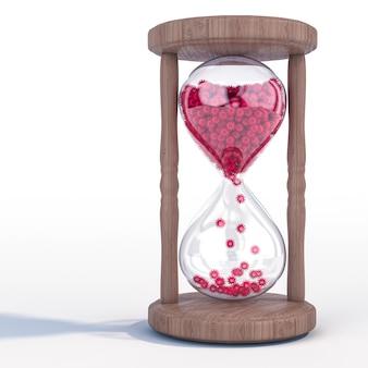 Reloj de arena con virus covid 19 en lugar de arena. paso del tiempo en el momento de la pandemia.