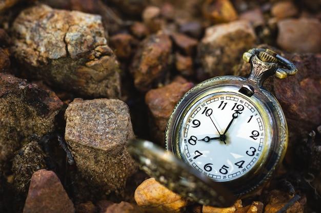 Reloj de bolsillo antiguo vintage colocado en el suelo en el bosque y la luz del sol de la mañana.