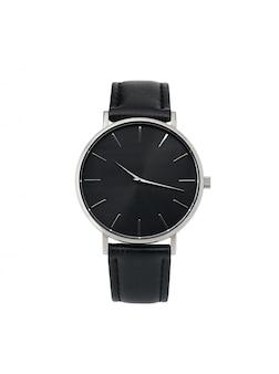 Reloj clásico de plata para mujer con esfera negra y correa de piel.