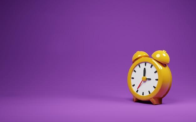 Reloj despertador vintage amarillo con render de fondo púrpura