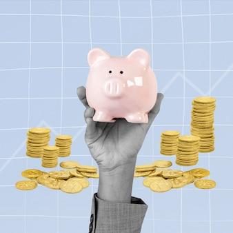 Remix del concepto de ahorro financiero de la mano de la hucha
