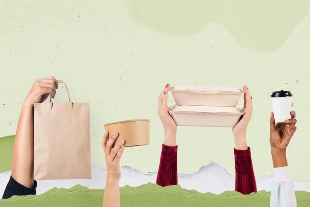 Remix del concepto de entrega de envasado de alimentos ecológico