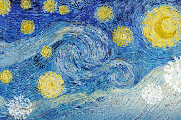 Remix de la pandemia del coronavirus de van gogh the starry night