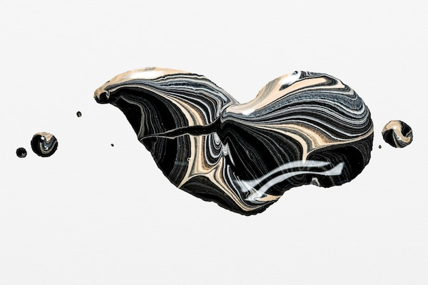 Remolino de mármol negro estética pintura acrílica elemento hecho a mano arte experimental
