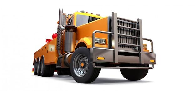 Remolque de carga naranja para transportar otros camiones grandes o maquinaria pesada diversa