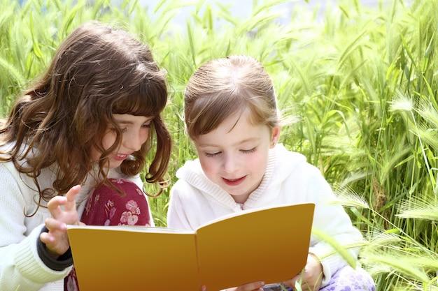 Remolque hermanita niñas leyendo libro espigas jardín