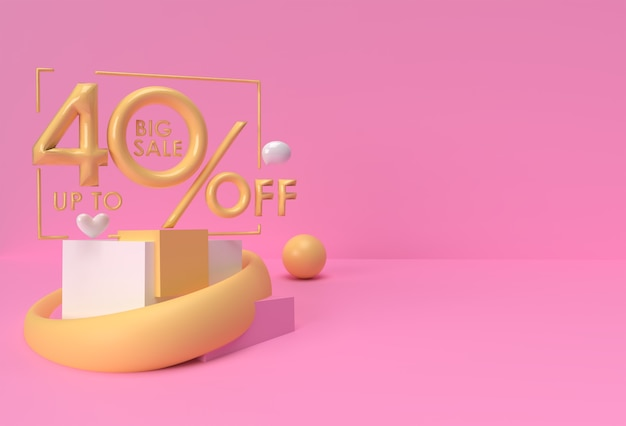 Render 3d de hasta 40% de descuento en gran venta con corazones diseño publicitario de productos de exhibición del día de san valentín.