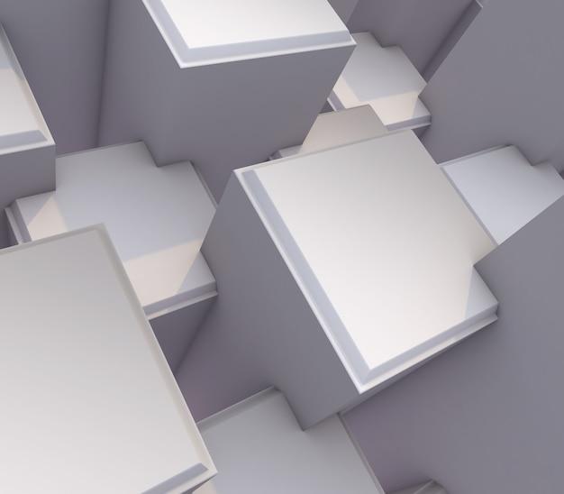 Render 3d de un abstracto moderno con cubos de extrusión biselados