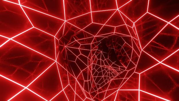 Render 3d abstracto de la superficie de la rejilla de neón.