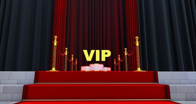 Render 3d de alfombra roja en las escaleras con palabra vip de oro.