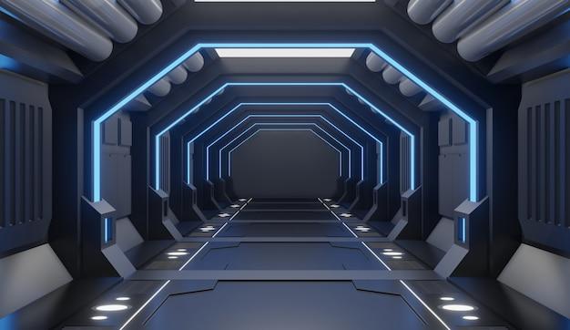 Render 3d amueblado interior de nave espacial con luz azul.