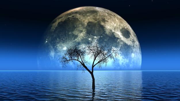 Render 3d de un árbol muerto en el mar con la luna en el cielo