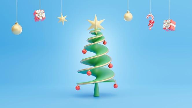 Render 3d de árbol de navidad con decoración en el día de navidad