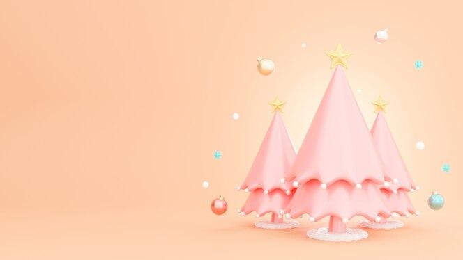 Render 3d de árbol de navidad con decoración