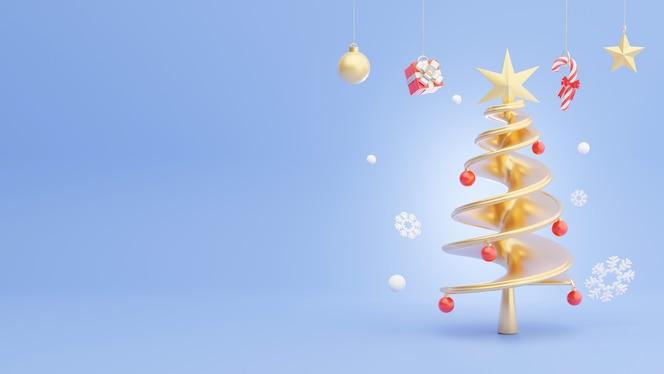 Render 3d de árbol de navidad dorado con decoración