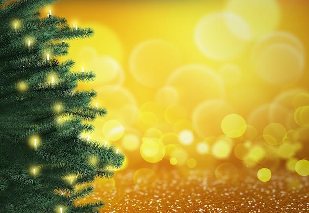 Render 3d de un árbol de navidad sobre un fondo de luces bokeh