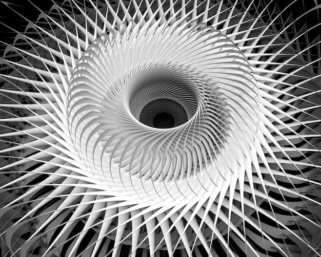 Render 3d de arte monocromático en blanco y negro abstracto con maquinaria surrealista 3d turbina industrial avión jet engine
