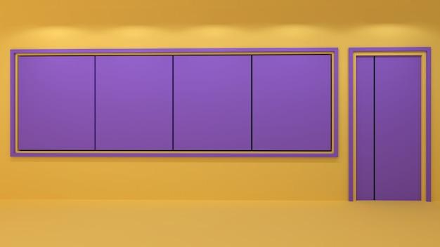 Render 3d de aulas y pizarras en blanco en dos tonos