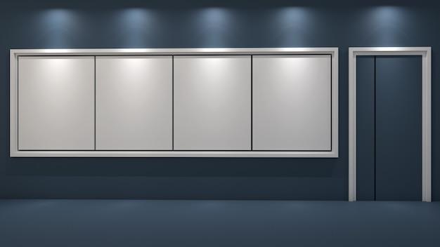 Render 3d de aulas y pizarrones en blanco en tonos azules