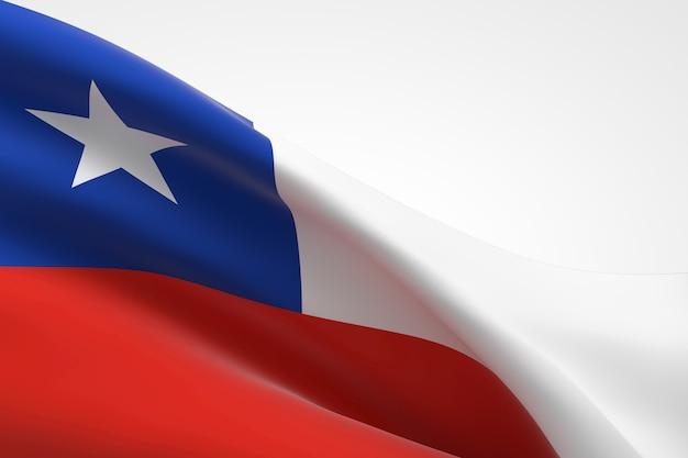 Render 3d de la bandera chilena ondeando.
