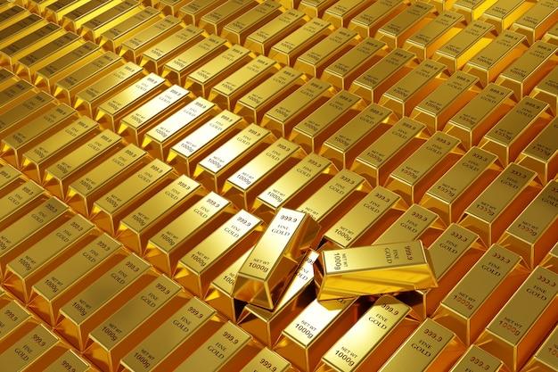 Render 3d de barra de oro de 1000g