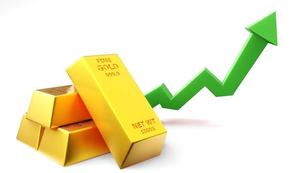 Render 3d de barra de oro de ladrillo de oro con concepto financiero gráfico