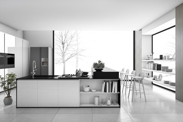 Render 3d en blanco y negro moderna cocina y loft comedor