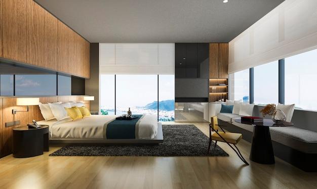 Render 3d bonita habitación con vistas al mar con diseño de lujo