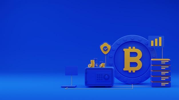 Render 3d de caja fuerte con monedas, aprobar escudo de seguridad, teléfono inteligente y servidor sobre fondo azul.