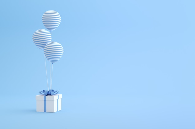 Render 3d de caja de regalo y globos sobre fondo azul.