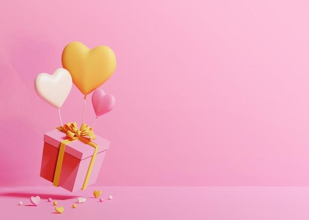 Render 3d de caja rosa con globos en forma de corazón blanco, naranja y rosa sobre fondo rosa claro
