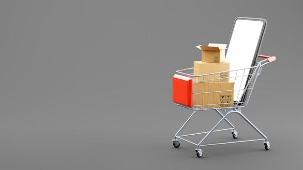 Render 3d de cajas de cartón y smartphone en carrito de compras