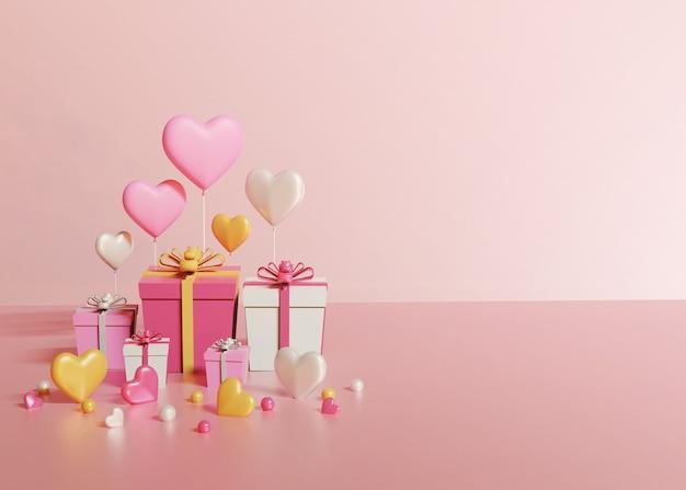 Render 3d de cajas de regalo y corazones sobre fondo rosa claro